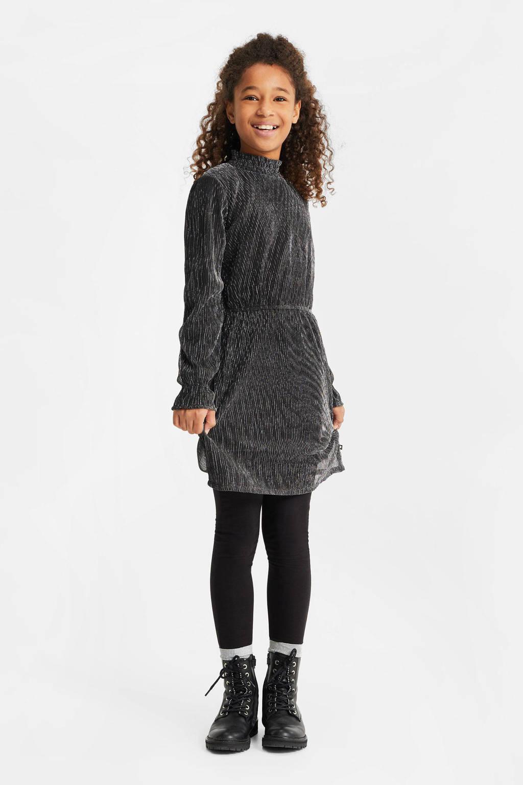WE Fashion jurk met all over print en glitters zwart, Zwart