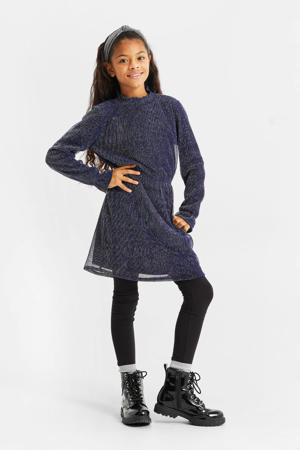 gemêleerde semi-transparante jurk blauw