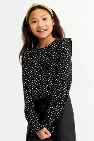 blouse met hartjes en ruches zwart/wit