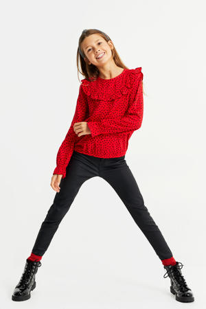 blouse met hartjes en ruches rood/zwart