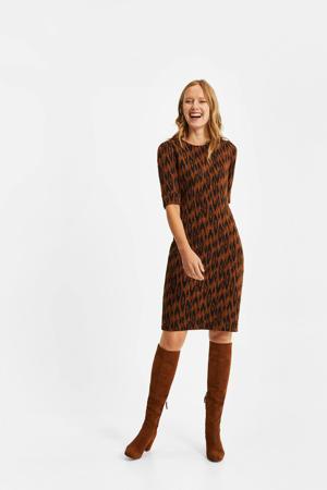 jurk met all over print oranje/zwart
