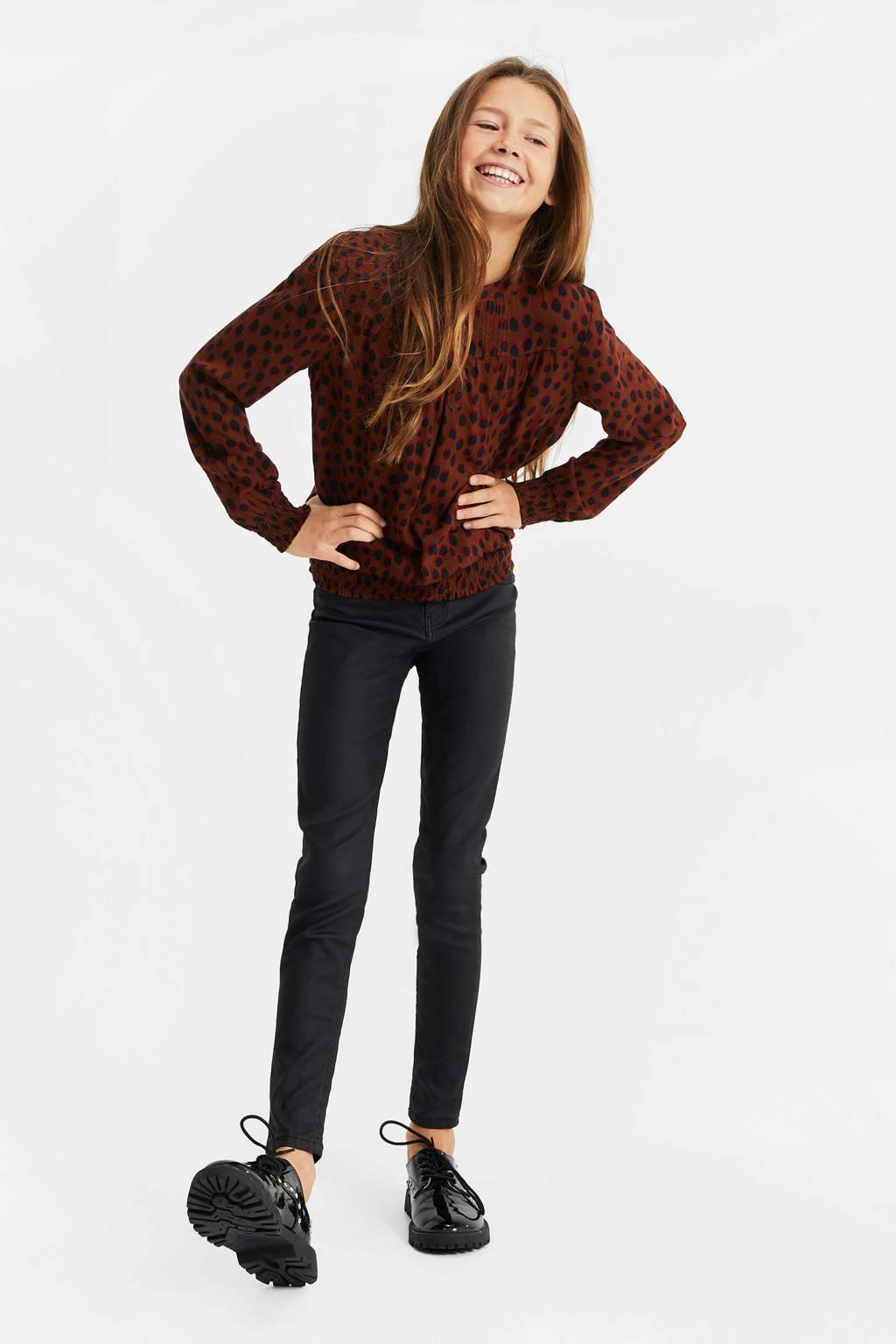 WE Fashion top met panterprint bruin/zwart, Bruin/zwart