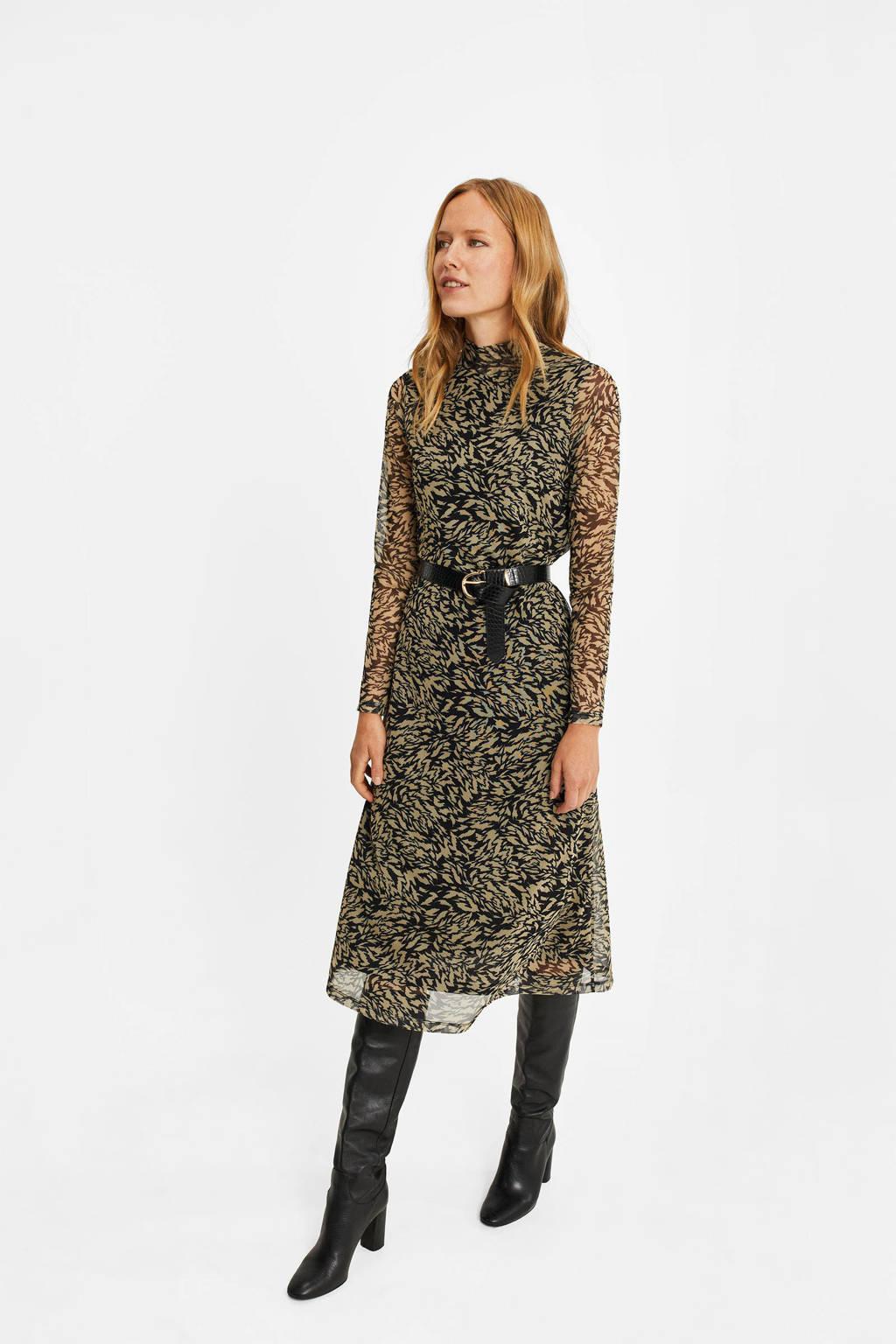 WE Fashion semi-transparante jurk met all over print zwart/beige, Zwart/beige