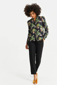 WE Fashion blouse met all over print black dessin, Black Dessin