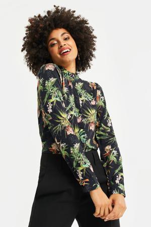 blouse met all over print black dessin