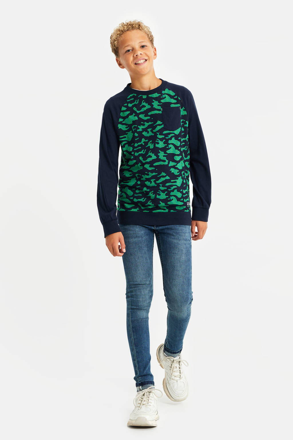 WE Fashion regular fit sweater met all over print donkerblauw/groen, Donkerblauw/groen