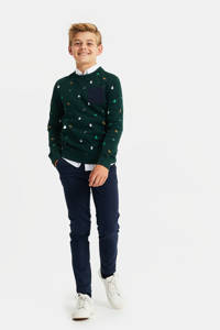 WE Fashion kerstsweater met all over print donkergroen/donkerblauw, Donkergroen/donkerblauw