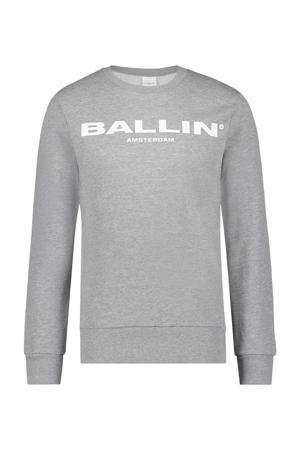 sweater met tekst grijs melage