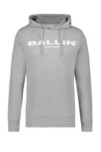 Ballin hoodie met tekst grijs melange, Grijs melange