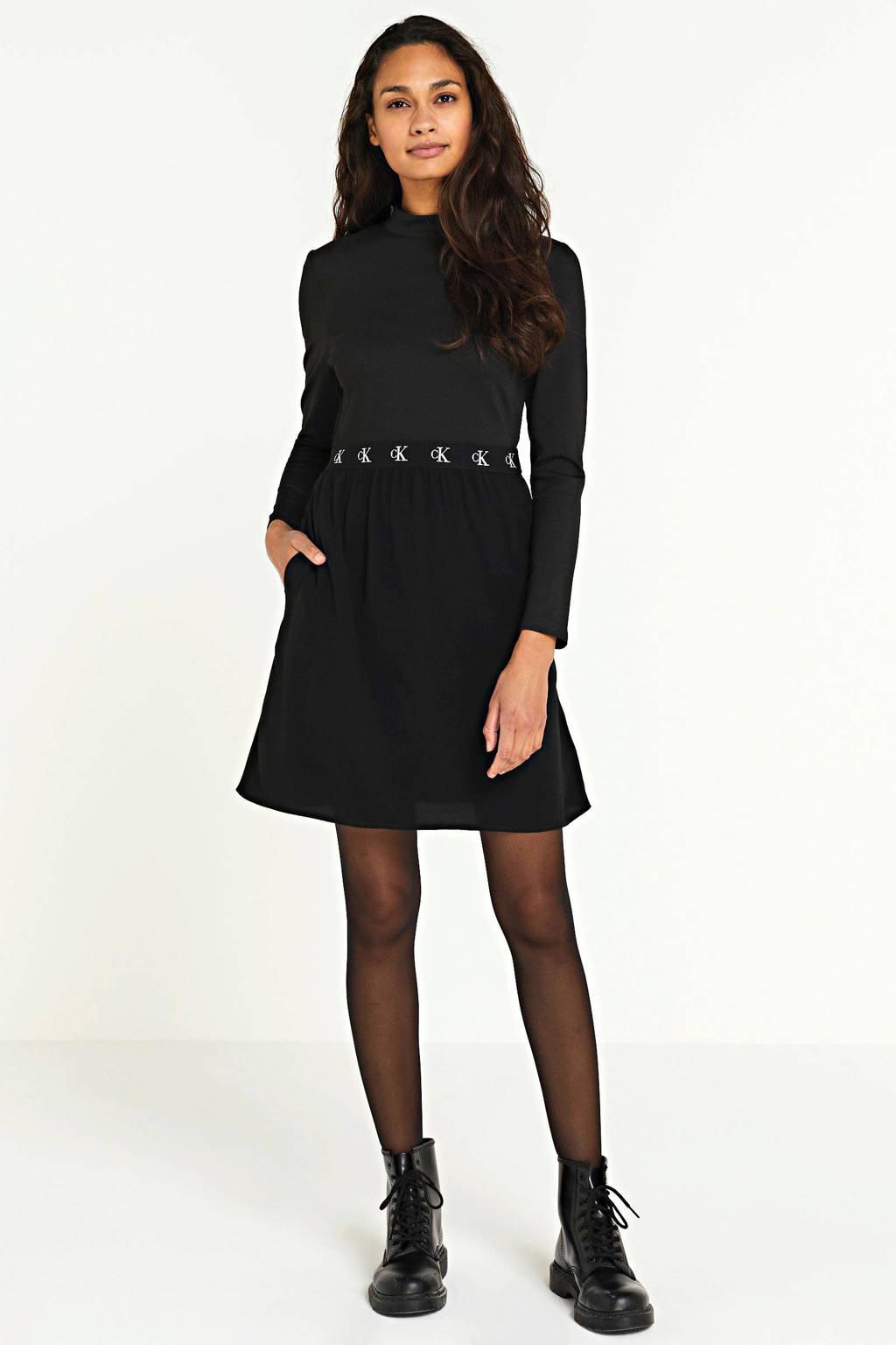 CALVIN KLEIN jurk met logo zwart, Zwart