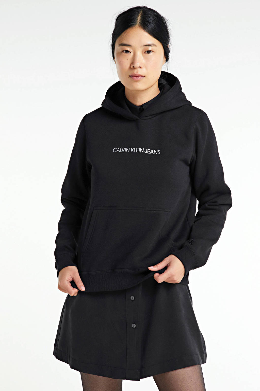 CALVIN KLEIN regular fit hoodie met logo zwart, Zwart