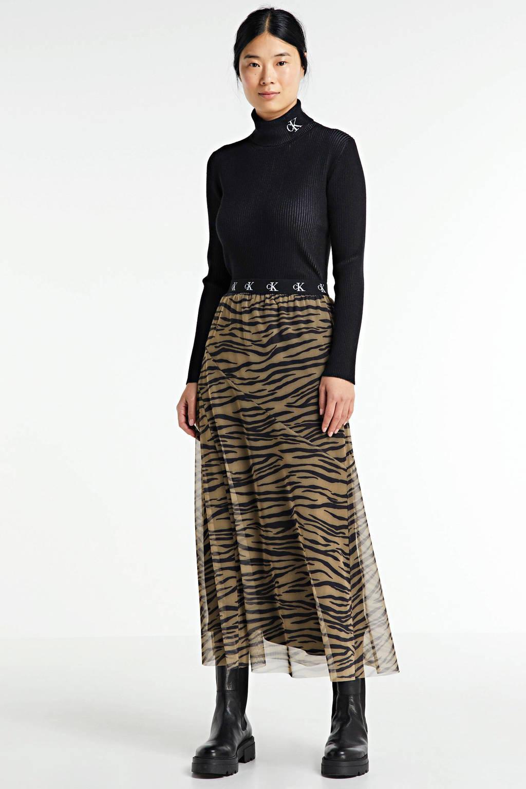 CALVIN KLEIN semi-transparante rok met zebraprint kaki/zwart, Kaki/zwart