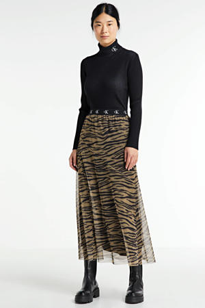 semi-transparante rok met zebraprint kaki/zwart