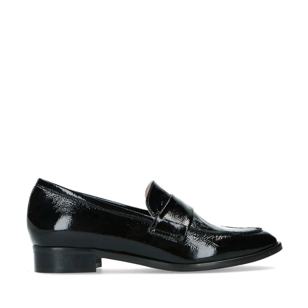Manfield   lakleren loafers zwart, Zwart