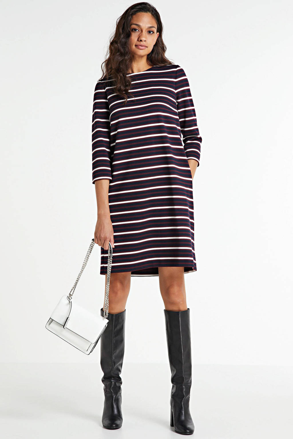 Tommy Hilfiger gestreepte jurk SHIFT TEXTURED SS DRESS 0e4 global stp desert sky, 0E4 Global Stp Desert Sky