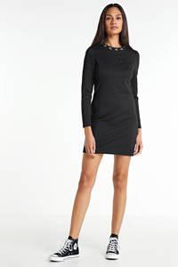 CALVIN KLEIN jurk met contrastbies zwart, Zwart