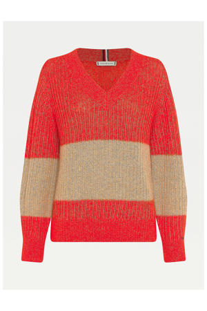 gestreepte trui TEXTURED STITCH V-NK SWEATER LS 0ac oxidised orange/timeless camel stp