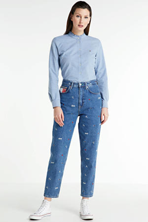 blouse met logo en ruches daybreak blue