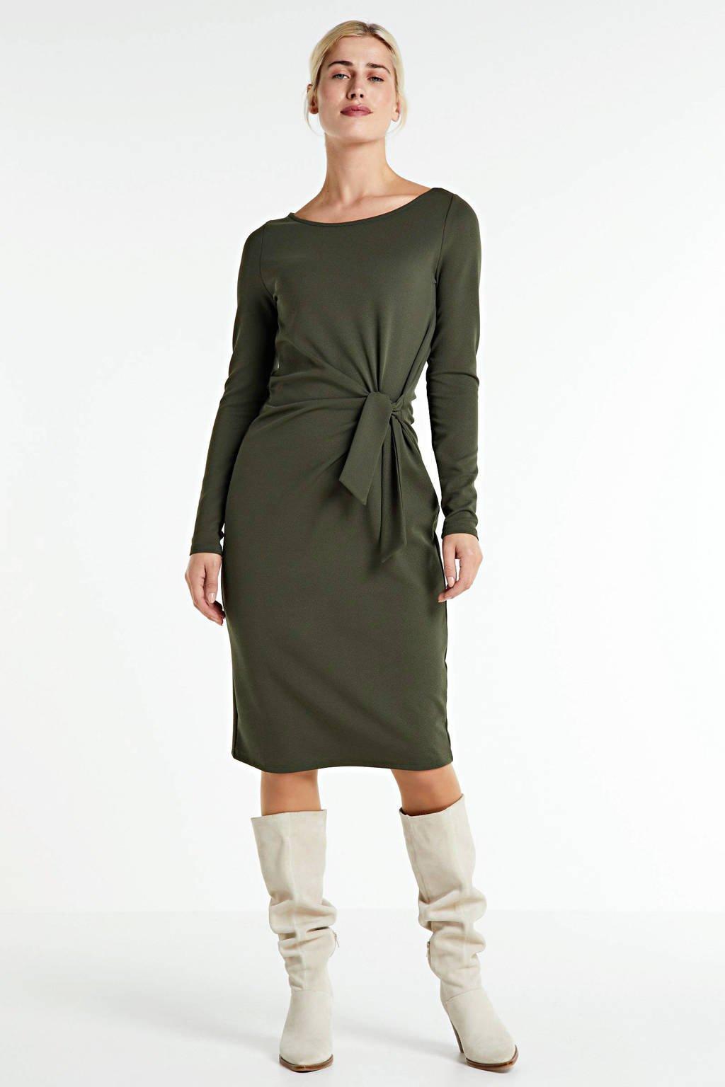 anytime jurk met knoopdetail donkergroen, Donkergroen