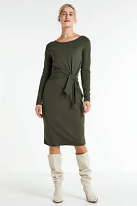 anytime jurk met knoopdetail groen, Donkergroen