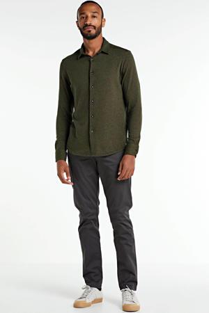 regular fit overhemd met textuur olijfgroen