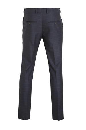 geruite slim fit pantalon donkerblauw