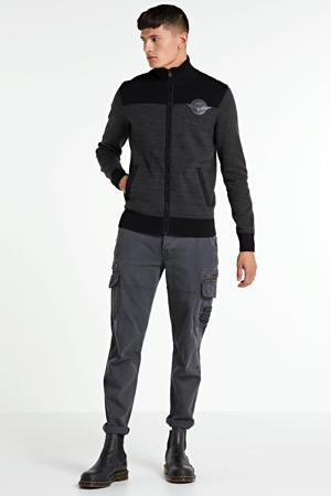 fijngebreid vest zwart/grijs