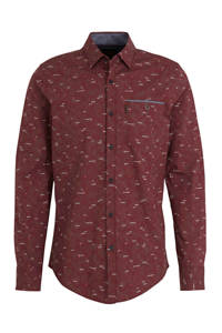 PME Legend slim fit overhemd met all over print roodbruin, Roodbruin
