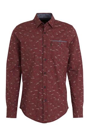 slim fit overhemd met all over print roodbruin