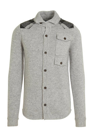 gemêleerd grofgebreid vest met wol grijs melange