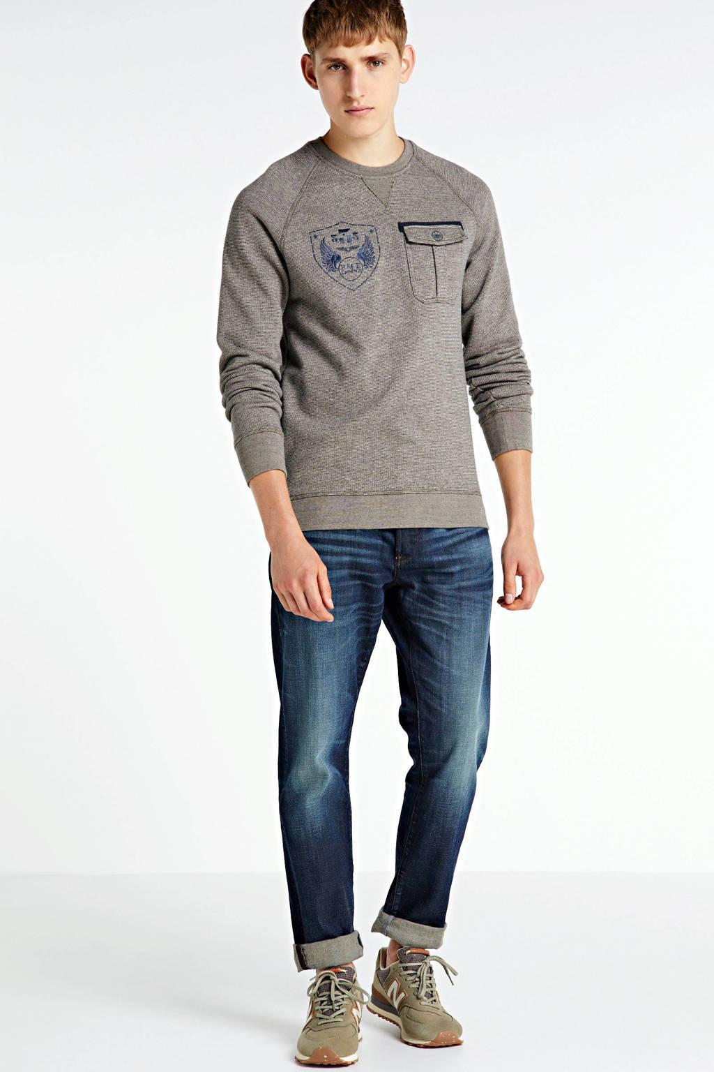 PME Legend gemêleerde sweater beige/donkerblauw, Beige/donkerblauw