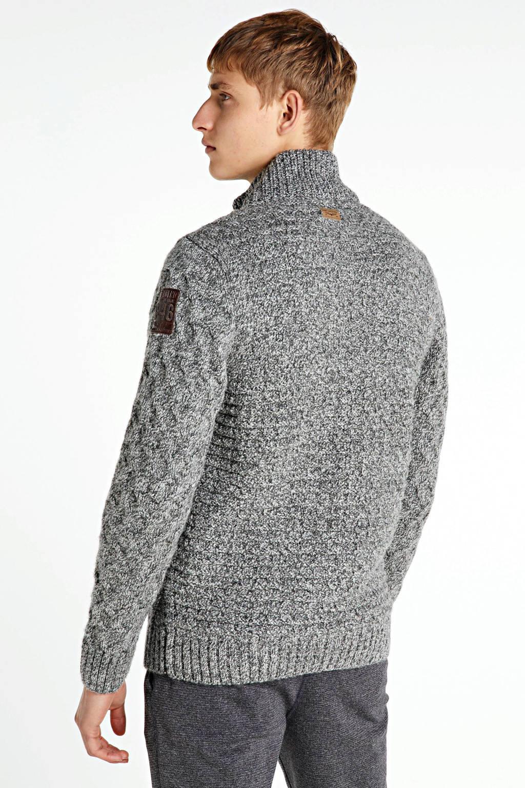 PME Legend gemêleerd grofgebreid vest met wol grijs melange, Grijs melange
