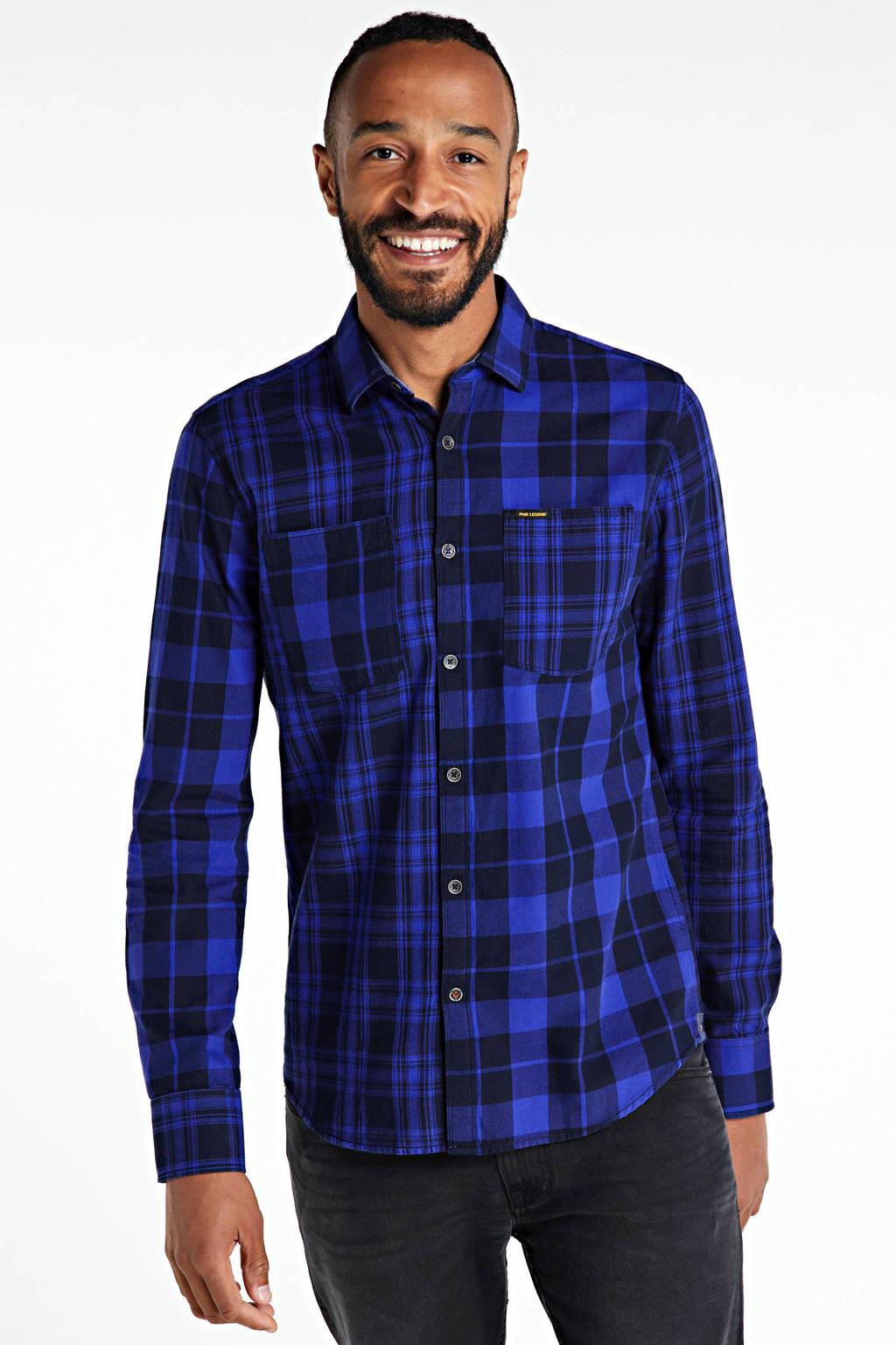 PME Legend geruit regular fit overhemd kobaltblauw, Kobaltblauw