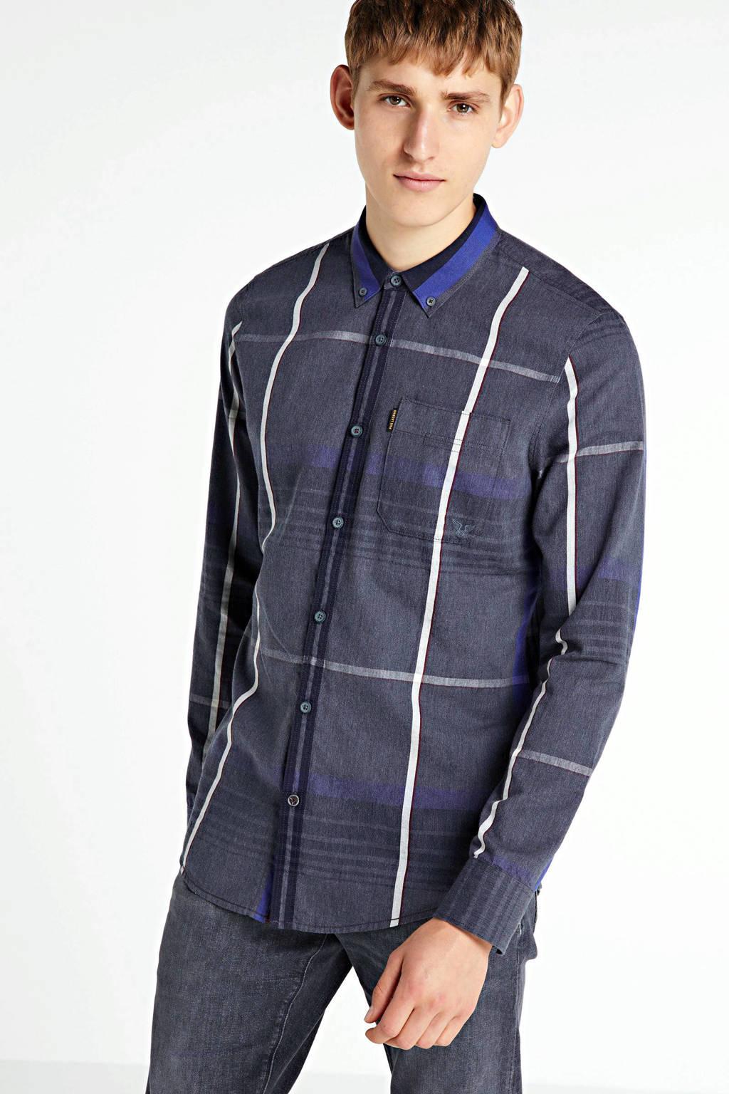 PME Legend geruit regular fit overhemd donkerblauw, Donkerblauw
