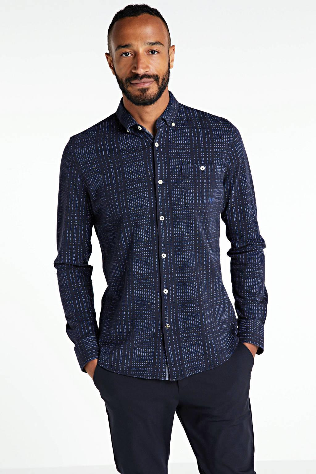 PME Legend geruit kanten regular fit overhemd donkerblauw, Donkerblauw