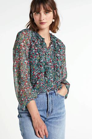 gebloemde semi-transparante blouse Vera blauw/multi