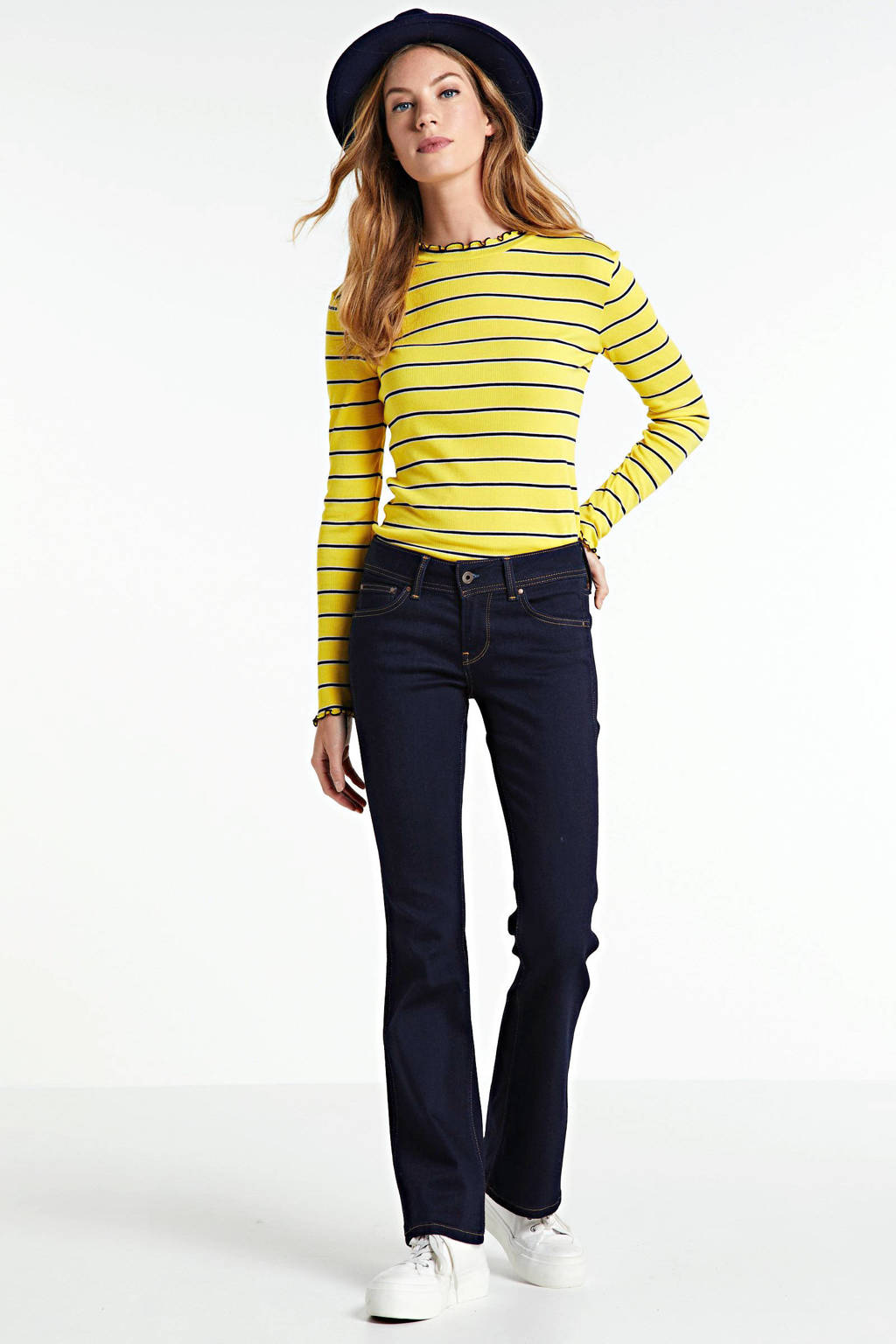 Pepe Jeans low waist flared jeans New Pimlico donkerblauw, Donkerblauw