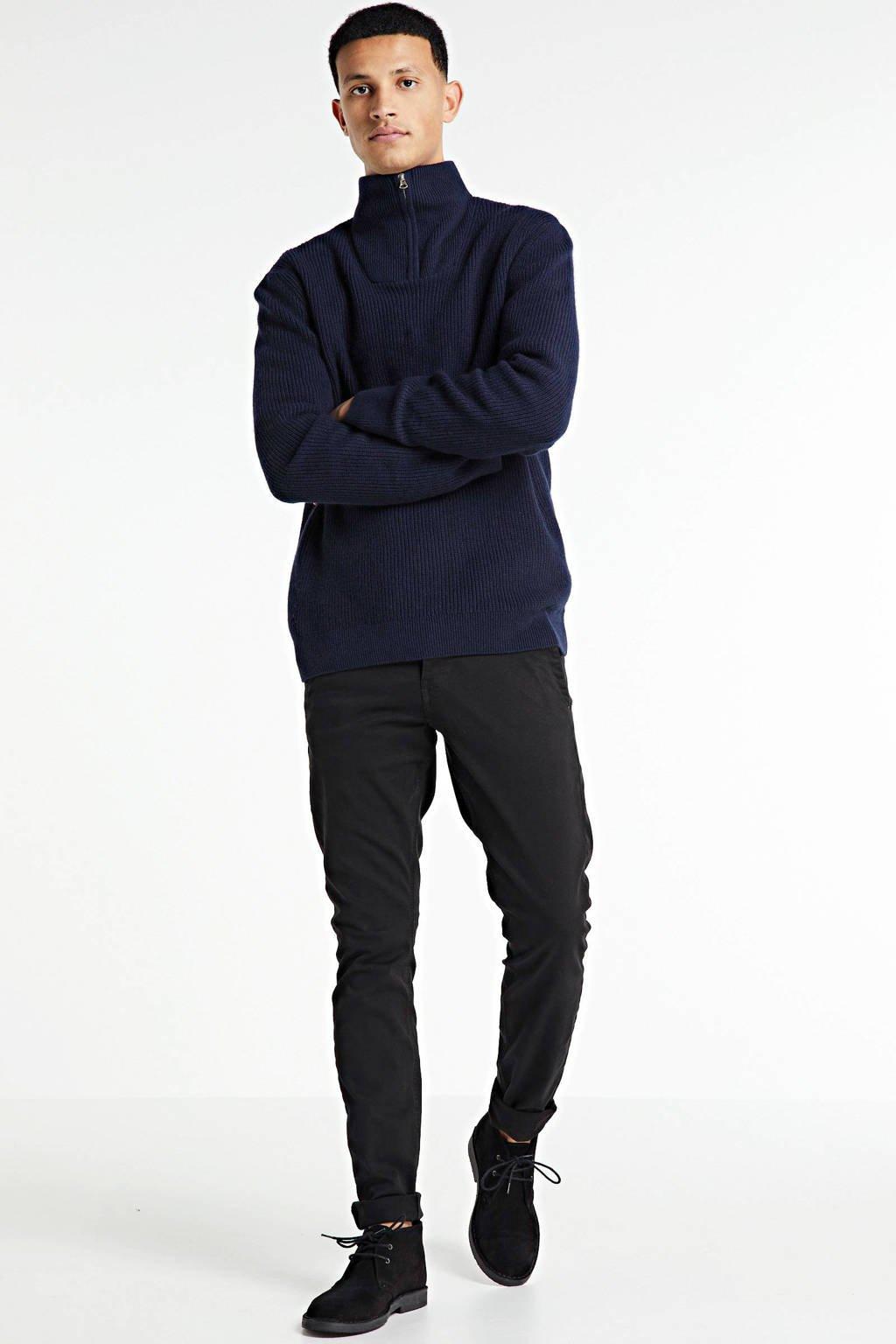 Knowledge Cotton Apparel trui met biologisch katoen donkerblauw, Donkerblauw
