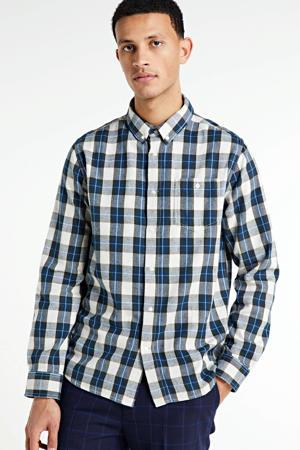 geruit regular fit overhemd Larch van biologisch katoen grijs/blauw/wit