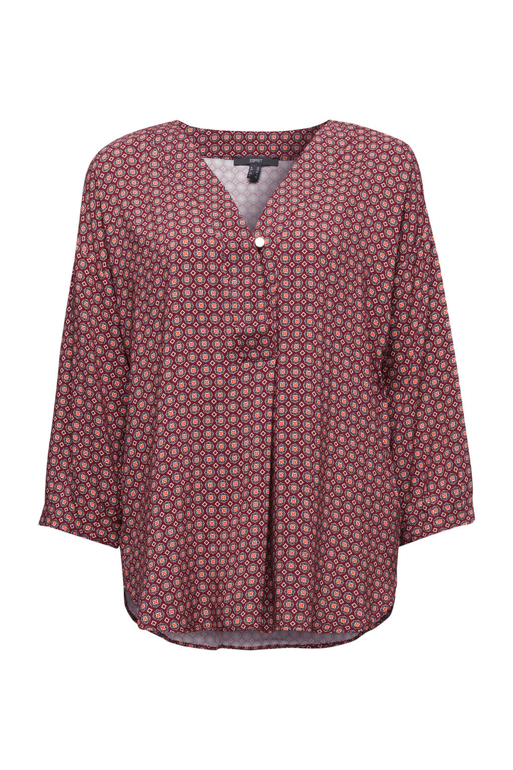 ESPRIT Women Collection blouse met all over print donkerrood/rood/zwart, Donkerrood/rood/zwart