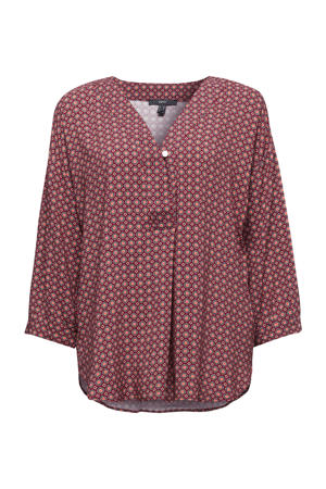 blouse met all over print donkerrood/rood/zwart