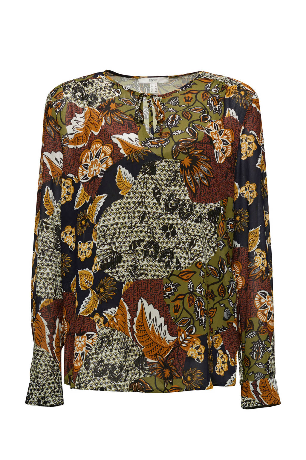 ESPRIT Women Casual semi-transparante top met all over print en open detail olijfgroen/donkerrood/donkerblauw, Olijfgroen/donkerrood/donkerblauw