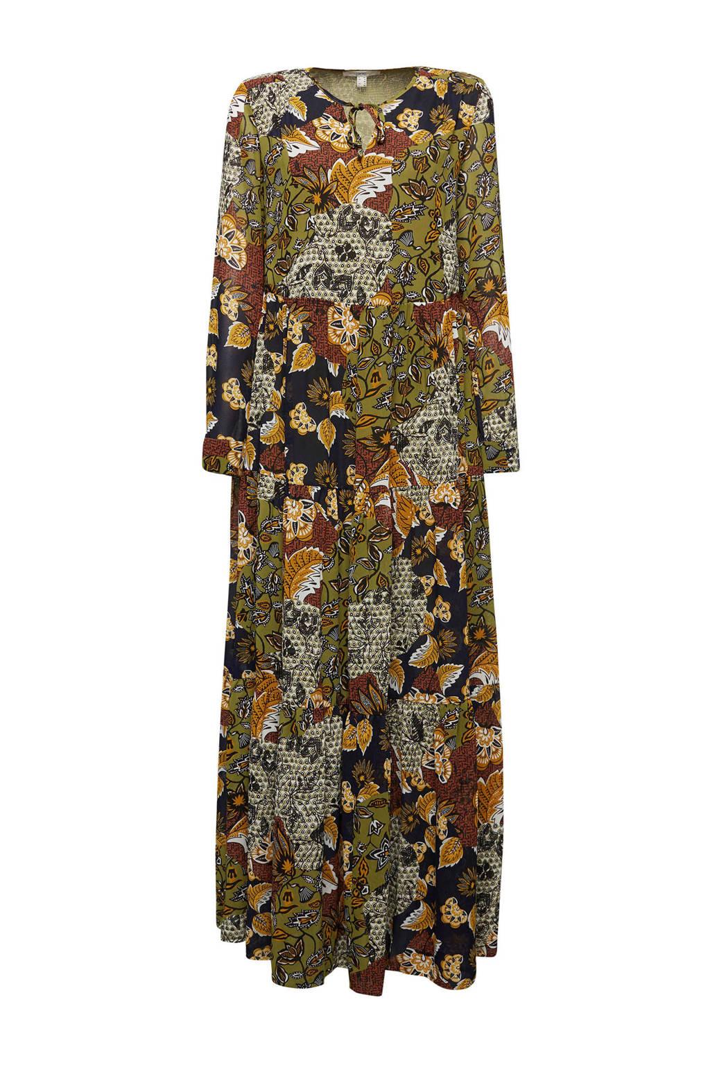 ESPRIT Women Casual semi-transparante maxi jurk met all over print en open detail olijfgroen/donkerrood/oranje, Olijfgroen/donkerrood/oranje