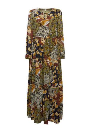 semi-transparante maxi jurk met all over print en open detail olijfgroen/donkerrood/oranje