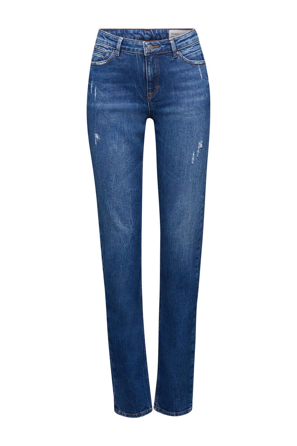 ESPRIT Women Casual straight fit jeans light denim met slijtage, Light denim