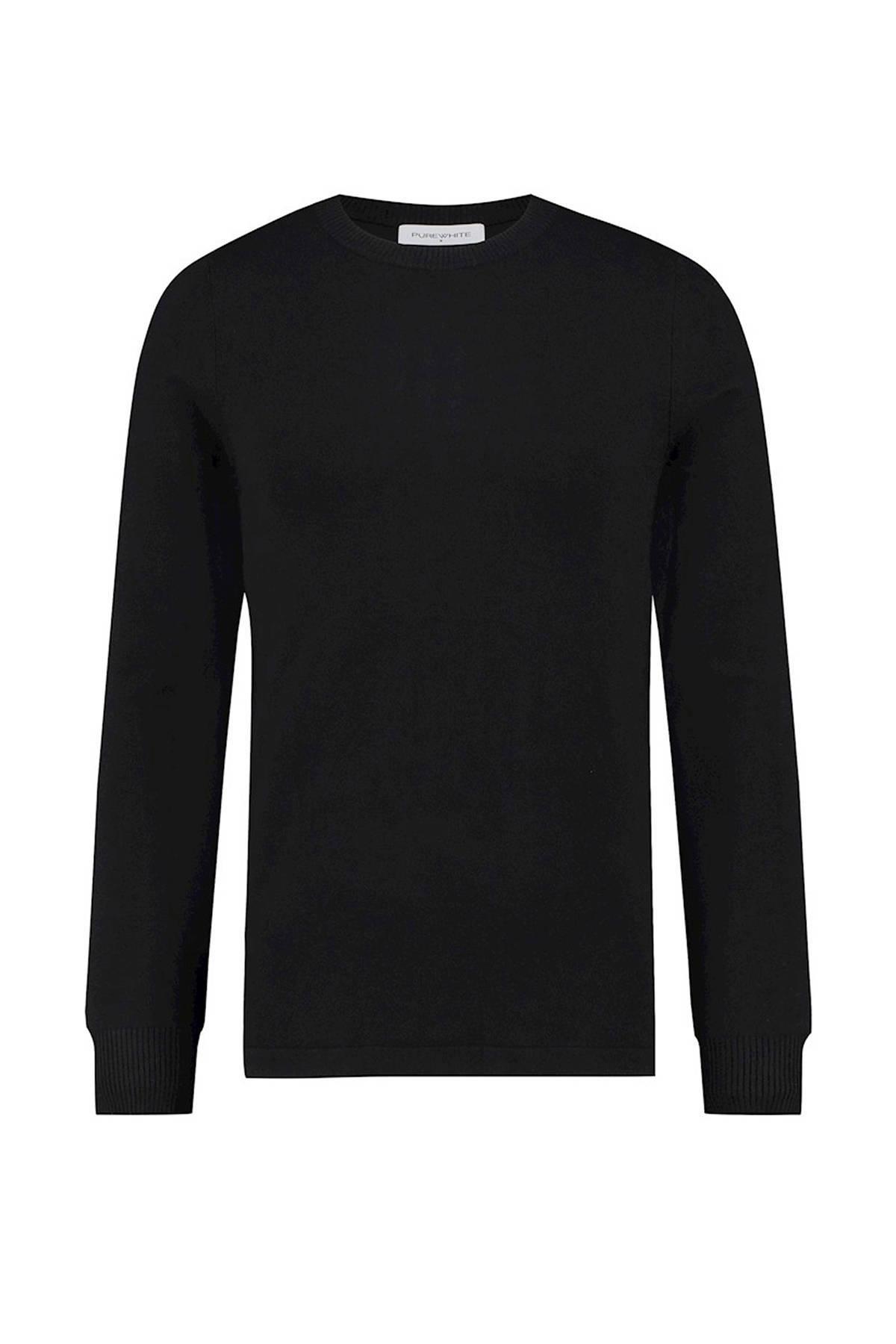 Purewhite fijngebreide trui zwart online kopen