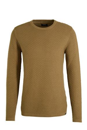 fijngebreide trui met textuur camel