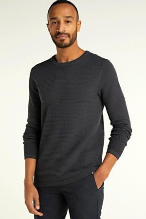 fijngebreide trui met textuur donkergrijs