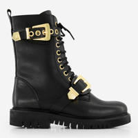 NIKKIE Dua Buckle Boots  leren veterboots met siergesp zwart, Zwart/goud