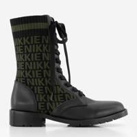NIKKIE Diora Jacquard Boots  leren veterboots met logo zwart/groen, Zwart/Goren
